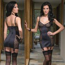 Платье со вставками под леопард, цвет черный, L - Coquette Internatonal