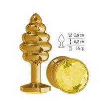 Анальная втулка Gold Spiral с желтым кристаллом, цвет золотой - МиФ