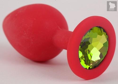Красная силиконовая анальная пробка с лаймовым стразом - 8 см., цвет лайм - Vandersex