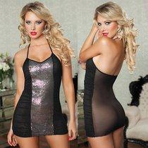 Платье Midnight Kisses с прозрачной спиной, с трусиками, цвет серебряный/черный, S-L - Seven`til Midnight