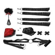 Романтический набор для БДСМ-игр с лепестками роз, цвет черный - Lux Fetish