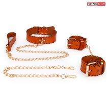 Изысканный кожаный набор с золотистыми цепочками: наручники, ошейник с поводком, цвет красный - Bioritm