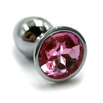 Серебристая алюминиевая анальная пробка с светло-розовым кристаллом - 6 см., цвет светло-розовый/серебряный - Kanikule