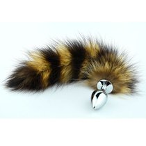 Пробка Metal Striped Tail - Silver с хвостом - Luxurious Tail