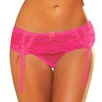 Трусики Lace Garter Thong с подвязками, цвет розовый, размер M-L - Hustler Lingerie