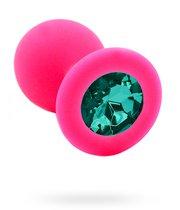 Розовая силиконовая анальная пробка с изумрудным кристаллом - 7 см., цвет розовый - Kanikule