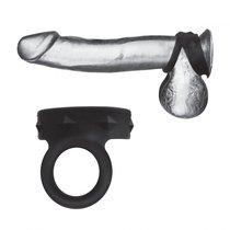 Черное двойное силиконовое кольцо С&B GEAR, цвет черный - Blue Line