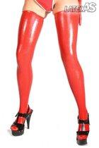 Красные латексные чулочки, цвет красный, M - Latexas