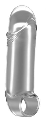 Прозрачная увеличивающая насадка с кольцом N35 Stretchy Thick Penis - 15,2 см., цвет прозрачный - Shots Media