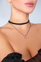 Чокер на шею с треугольной подвеской, цвет черный, размер OS - Livia Corsetti
