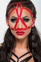 Маска из стреп-лент на верхнюю часть лица, цвет красный, размер OS - Me Seduce