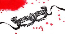 Черная ажурная текстильная маска Рокси, цвет черный - Bioritm