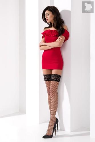 Чулки в крупную сетку с кружевной резинкой с силиконовыми полосами, цвет красный, 1-2 - Passion