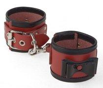 Красные наручники с черными лаковыми бантами и оторочкой, цвет красный/черный - Sitabella