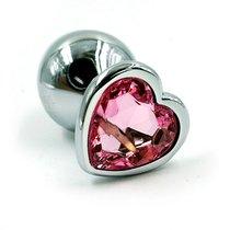 Анальная пробка со стразом Aluminium Silver Heart - Medium, цвет светло-розовый - Kanikule