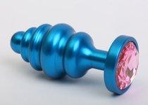 Синяя ребристая анальная пробка с розовым кристаллом - 7,3 см., цвет синий - 4sexdreaM