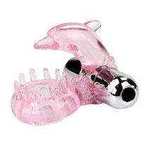 Розовое виброкольцо-дельфин с шипами - Baile