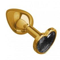 Золотистая анальная пробка с чёрным кристаллом-сердцем - 7 см, цвет золотой/черный - МиФ