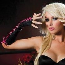 Перчатки Fingerless Lace-Up Gloves с контрастной шнуровкой, цвет розовый/черный, OS - Seven`til Midnight