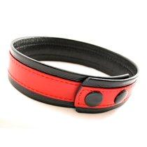 Кожаный браслет на бицепс, цвет красный/черный - Lucom