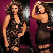 Сорочка Jamie с завязками на груди, с трусиками, цвет черный, XL-3XL - Seven`til Midnight