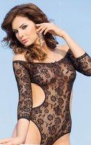 Боди с длинными рукавами и открытой спиной, цвет черный, S-M - SoftLine Collection (SLC)