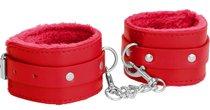 Красные наручники Plush Leather Hand Cuffs, цвет красный - Shots Media