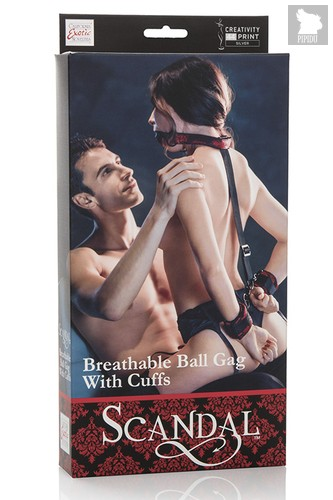 Кляп с наручниками Breathable Ball Gag With Cuffs, цвет черный - California Exotic Novelties