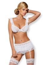 Женственный комплект Julitta из 4 предметов, цвет белый, размер L-XL - Obsessive