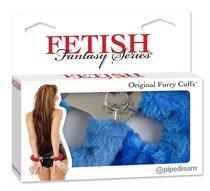 Металлические наручники с синей меховой опушкой, цвет синий - Pipedream