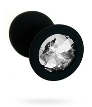 Анальная пробка со стразом Silicone Black - Large, цвет черный - Kanikule