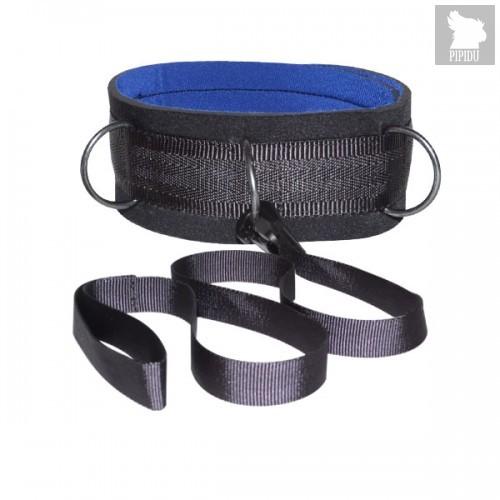 Чёрный ошейник из неопрена, цвет синий/черный - Sitabella