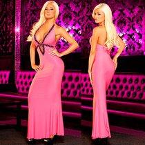 """Вечернее платье Hustler """"в пол"""" с глубоким декольте, цвет розовый, S-M - Hustler Lingerie"""