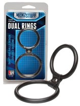 Чёрное двойное эрекционное кольцо Dual Rings Black, цвет черный - Dream toys