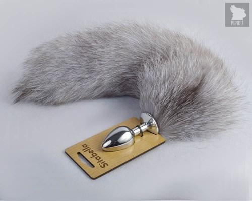 Серебристая анальная пробка с натуральным хвостиком - Sitabella