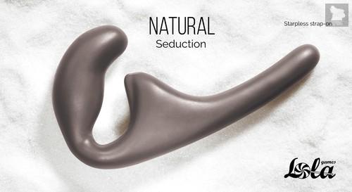 Безремневой анальный страпон Natural Seduction Black 5010-02lola, цвет черный - Lola Toys