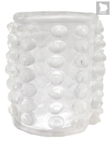 Прозрачная сквозная насадка на фаллос с пупырышками - 4 см., цвет прозрачный - Playstar