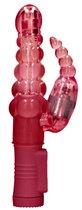 Красный вибратор-кролик Rotating Bubbles - 23,2 см., цвет красный - Shots Media