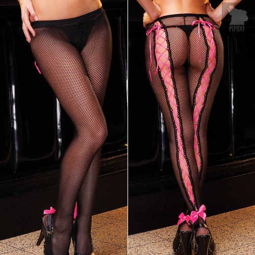 Колготки со шнуровкой CUTE GIRL, цвет розовый/черный, S-L - Electric Lingerie