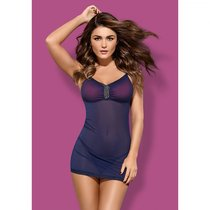 Фиолетовая полупрозрачная сорочка Suella с нежным кружевом и украшением на лифе, цвет фиолетовый, размер S-M - Obsessive
