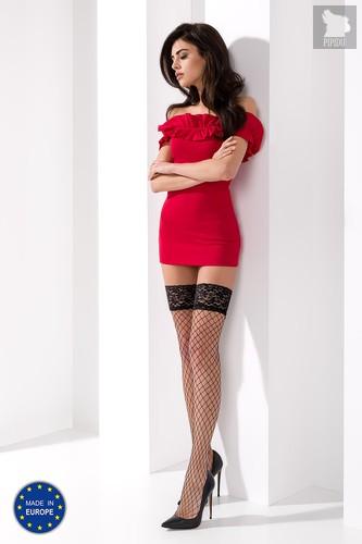 Чулки в крупную сетку с кружевной резинкой с силиконовыми полосами, цвет красный, размер L-XL - Passion