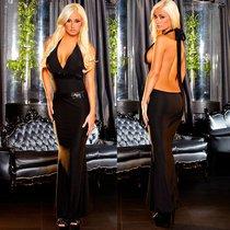 """Вечернее платье Hustler """"в пол"""" с открытой спиной, цвет черный, S-M - Hustler Lingerie"""
