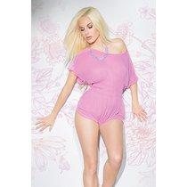 Полупрозрачный коротенький комбинезон с кружевом, цвет розовый, размер S-L - Coquette Internatonal