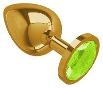 Золотистая большая анальная пробка с лаймовым кристаллом - 9,5 см, цвет золотой/лайм - МиФ