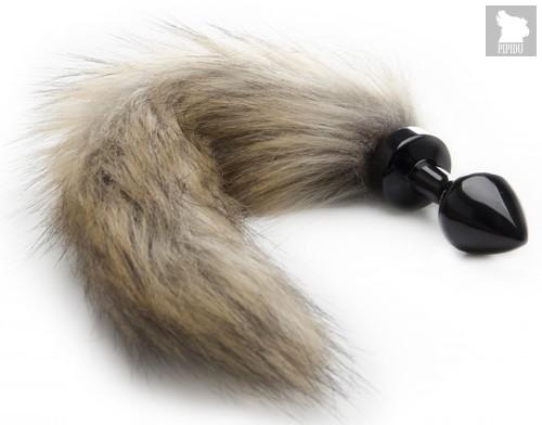 Черная маленькая анальная пробка с хвостиком Fox Tail Buttplug, цвет черный - Shots Media