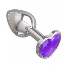 Серебристая анальная пробка с фиолетовым кристаллом-сердцем - 7 см, цвет серебряный/фиолетовый - МиФ