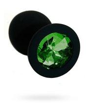 Чёрная силиконовая анальная пробка с изумрудным кристаллом - 7 см., цвет темно-зеленый - Kanikule