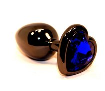 Чёрная пробка с синим сердцем-кристаллом - 7 см, цвет синий - 4sexdreaM