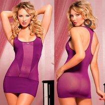 Платье Mesh & Microfiber Racer Back, с трусиками, цвет фиолетовый, S-L - Seven`til Midnight