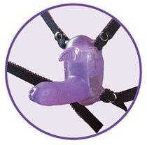 Фиолетовый вибростимулятор в виде рога носорога на регулируемых трусиках и с пультом ДУ, цвет фиолетовый - Nanma (NMC)